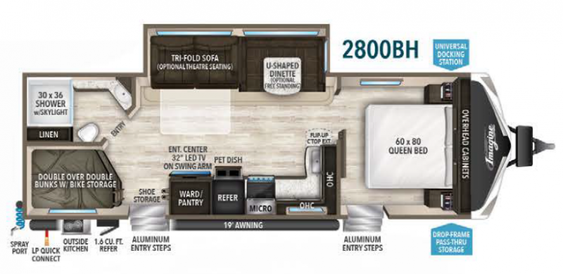 Imagine Travel Trailer Rental Layout